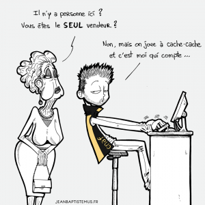 illustration humoristique libraire jb mus