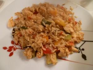 poelée maison riz poulet légumes équilibrée bio