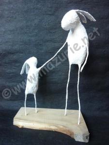 parent enfant lapin sculture mazurié