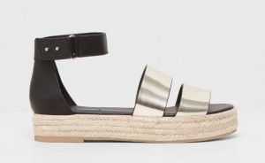 sandale corde espadrille métallisée pull and bear