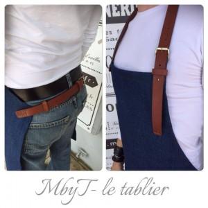 tablier jean cuir MbyT
