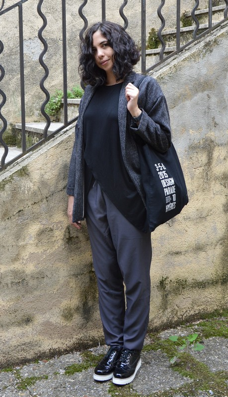 look ootd mode blog gris noir graphique loose automne 2015