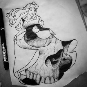 princesse-disney-crane-skull-illustration-jeanjean