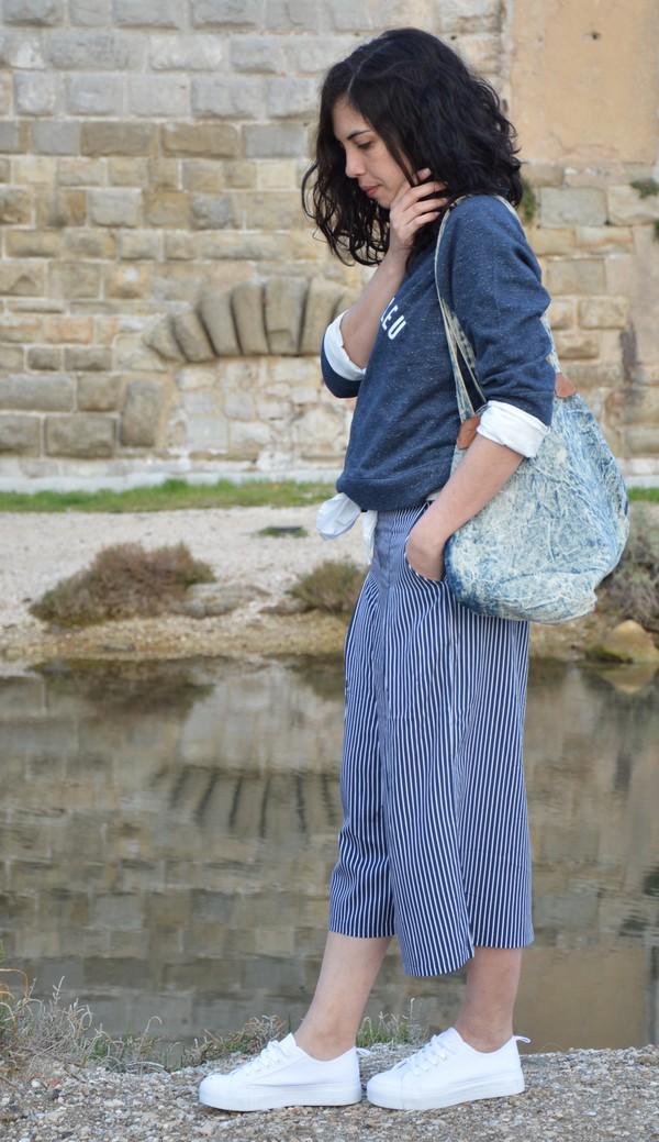 look-outfit-jennyfer-mode-printemps-bleu-jupeculotte-rayures