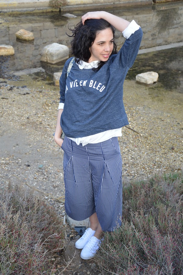 tenue-mode-look-ootd-jennyfer-jupeculotte-bleu-rayures-printemps