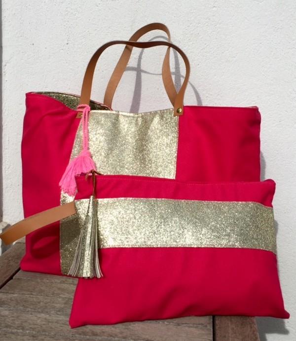 sac-pochette-cabas-or-pompon-cuir-lesdeliresdelvire