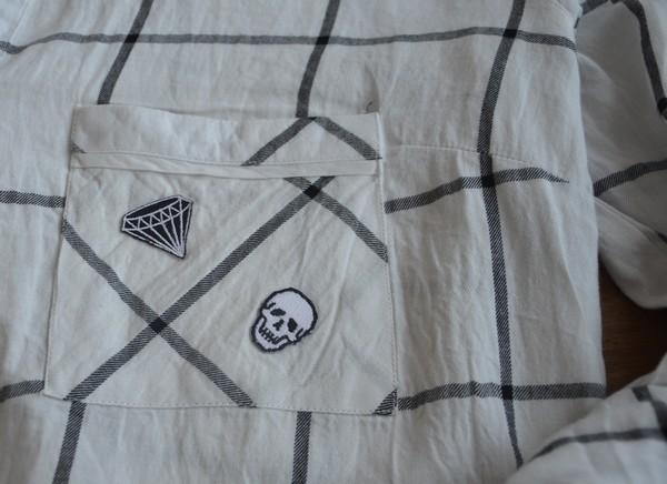 chemise-carreaux-customiser-patch-diams-skull-crane-blogueuse-mode